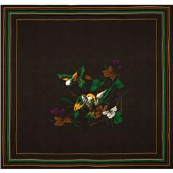Silk Crepe De Chine Jacquard Scarf Panel Bird Brown