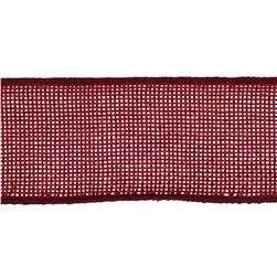"May Arts 1 1/2"" Faux Burlap Wired Ribbon Spool Burgundy"