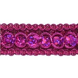 "7/8"" Trish Sequin Metallic Braid Trim Roll Fuchsia"