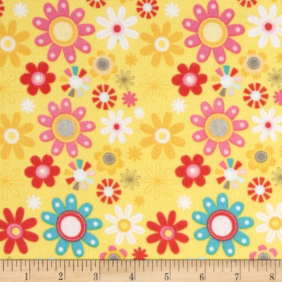 Riley Blake Girl Crazy Flannel Floral Yellow