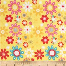 Riley Blake Girl Crazy Flannel Floral Yellow Fabric