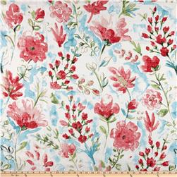 100% European Linen Watercolor Floral Red
