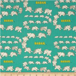 Babar Traveling Elephants Turquoise