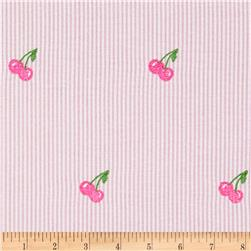 Embroidered Seersucker Pink/White Cherries Hot Pink