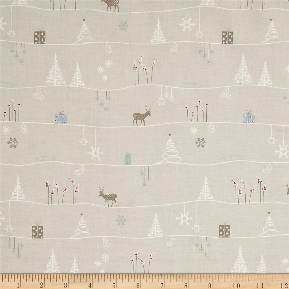 Silent Christmas Scenic Repeating Stripe Grey/Multi