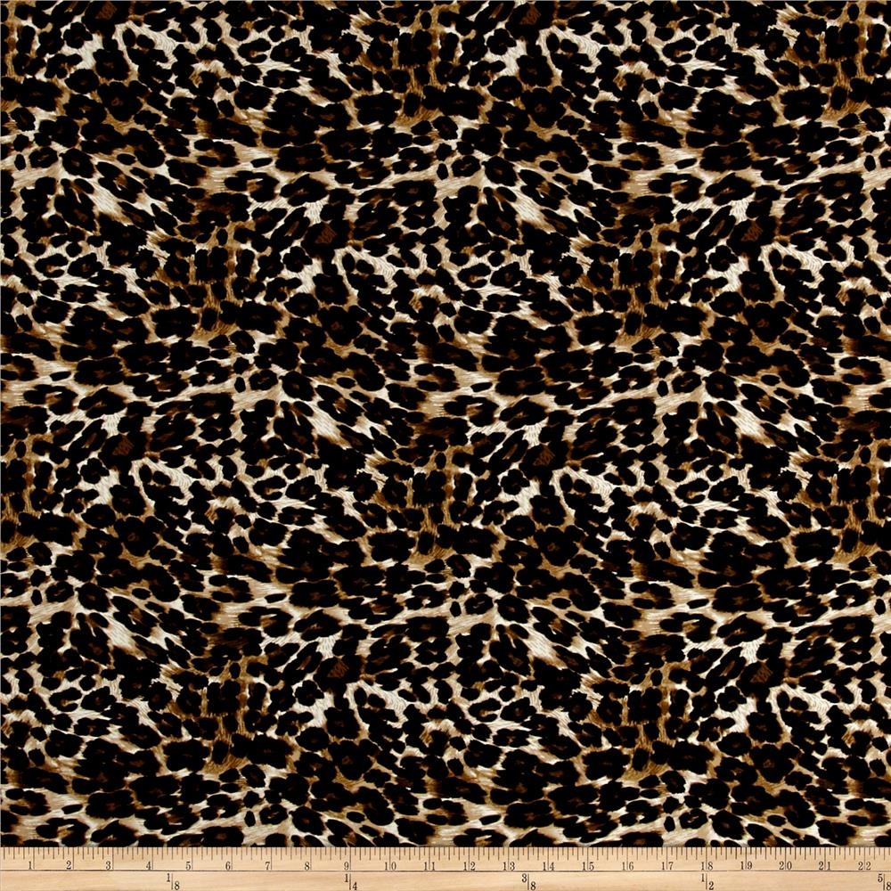 Rayon Stretch Bengaline Leopard Black/Toffee