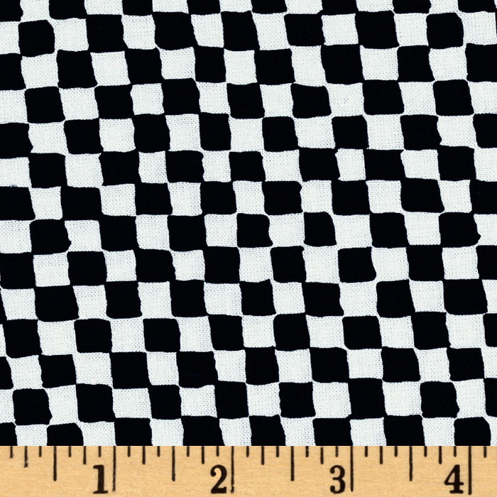 Michael Miller Clown Check Black/White Fabric