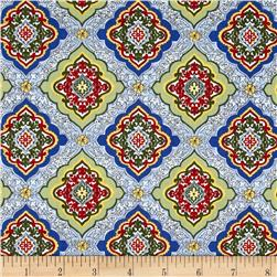 Timeless Treasures Posey Diamond Tile Blue