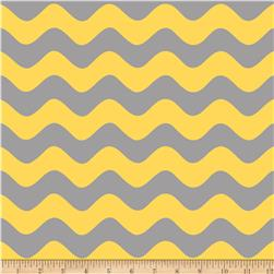 Riley Blake Wave Grey/Yellow Fabric