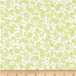 Cuddle Me Basics Flannel Paisley Lime
