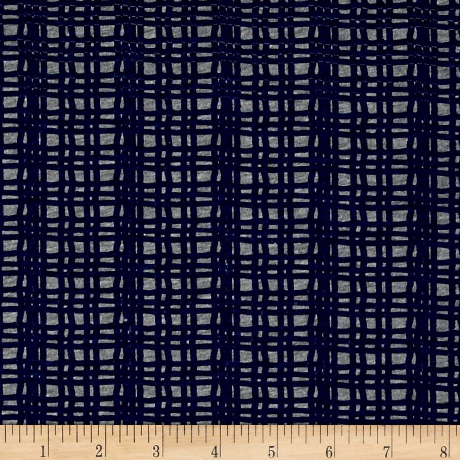 Children 39 s cotton t knits navy fence stripes on gray for Designer childrens fabric