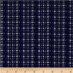 Children's Cotton T-Knits Navy Fence Stripes on Gray