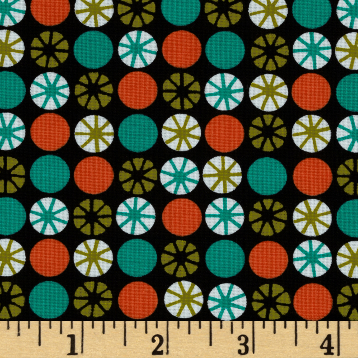 Michael Miller Retro Atomic Orbs Tangerine Fabric