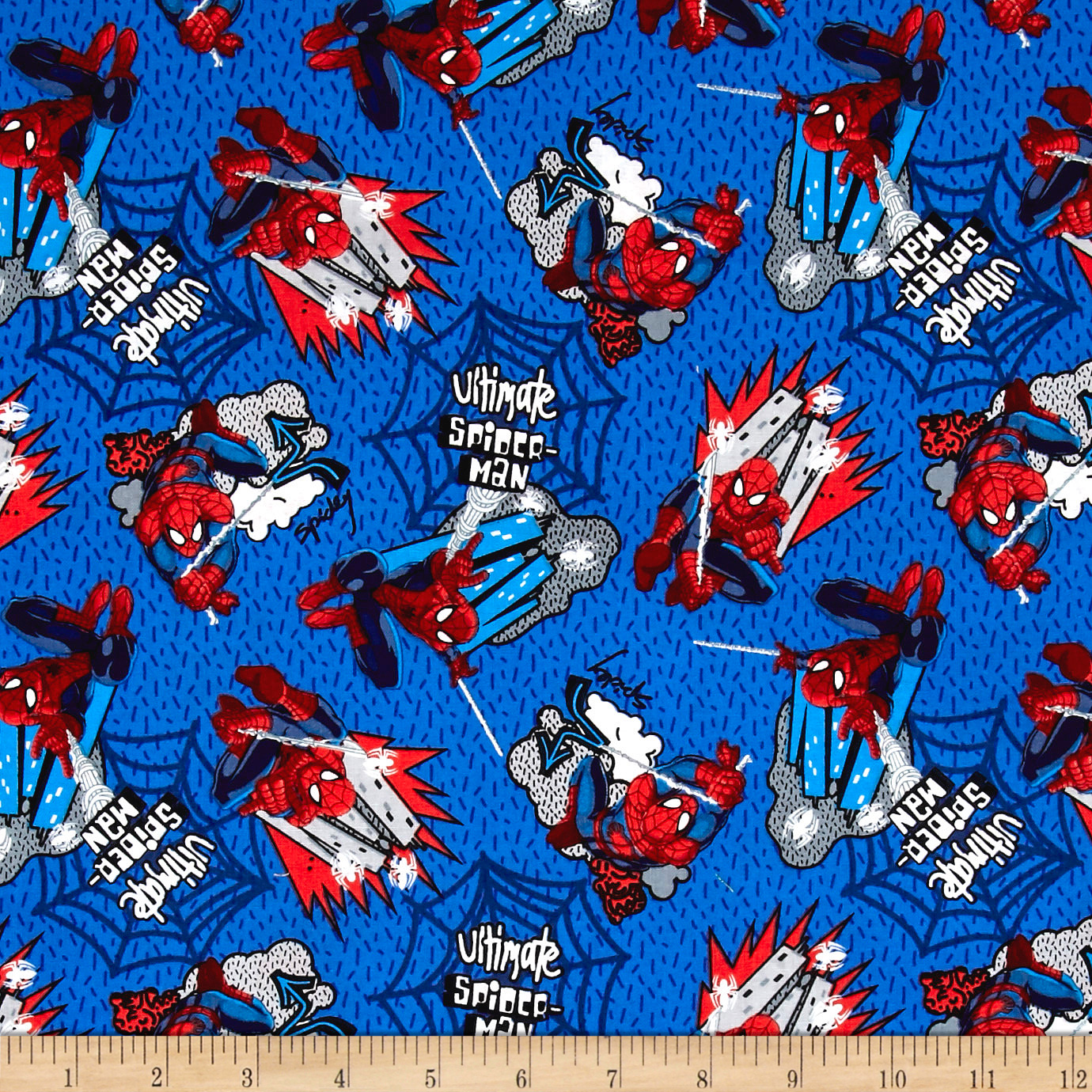 Marvel Spiderman Web Swinging Blue Fabric 0540066