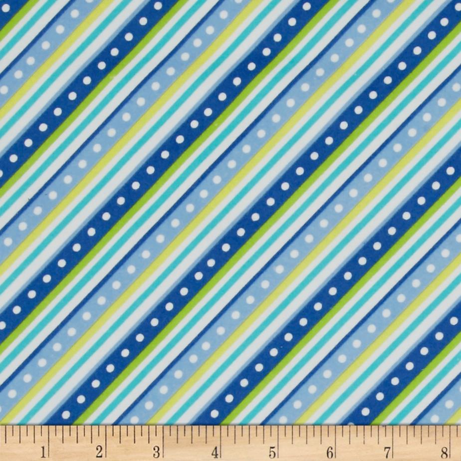 Kimberbell Little One Flannel Too! Diagonal Stripe Blue Fabric By The Yard
