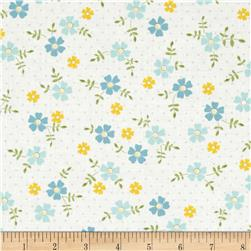 Oh Clementine Tossed Flowers White Fabric