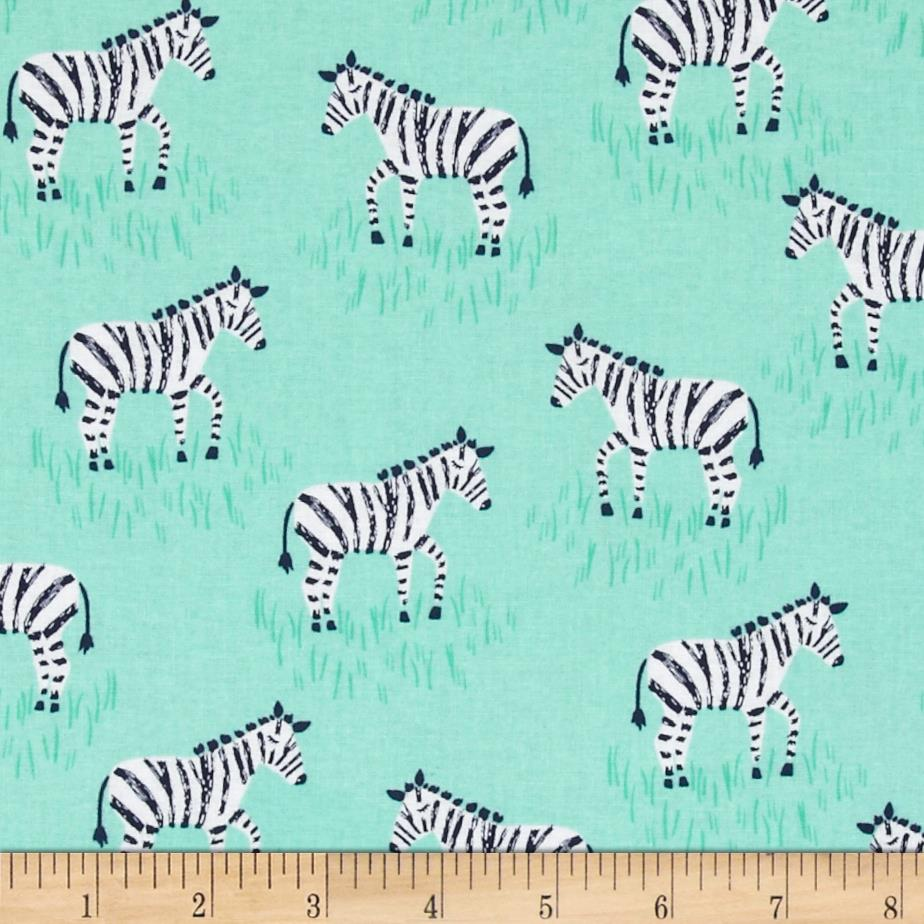 Michael Miller Zebras Mini Mint