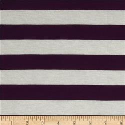 Designer Stretch Rayon Jersey Knit Stripe Purple/White