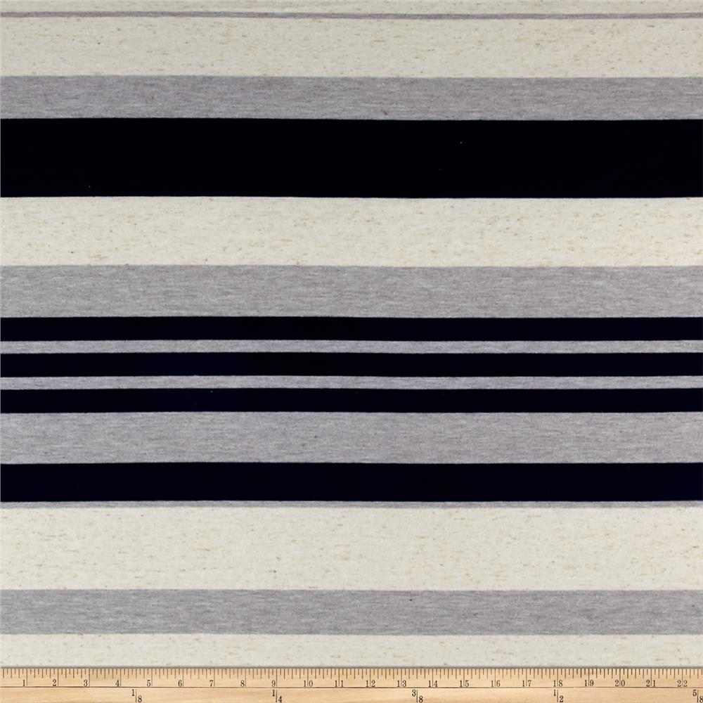 Rayon Knit Stripes Navy Oatmeal