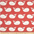Premier Prints Whale Tales Twill Coral/White