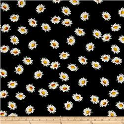 Jersey Knit Flower Black