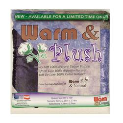 "Warm & Plush Queen Size ( 90"" x 108"") Batting"