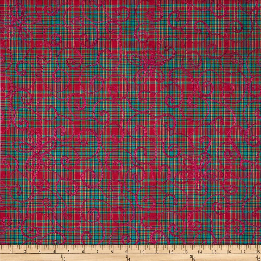 Forever Plaid Embroidered Red/Aqua/Green