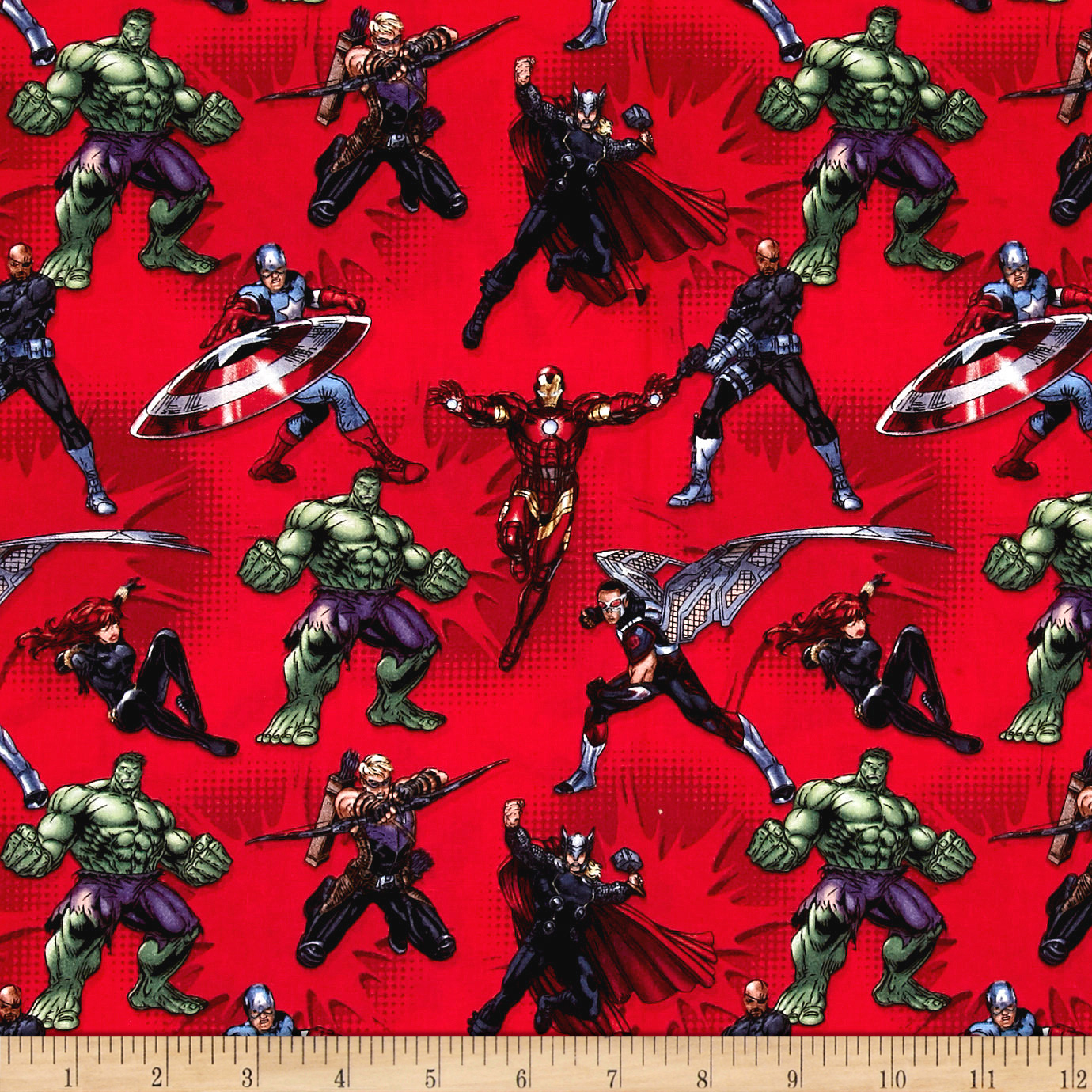 Image of Marvel Avengers Avengers Action Red Fabric