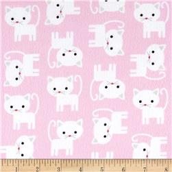 Kaufman Urban Zoology Flannel Cats Baby Pink