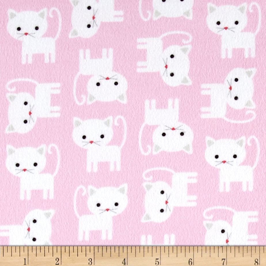 Kaufman Urban Zoologie Flannel Cats Baby Pink Fabric by Kaufman in USA