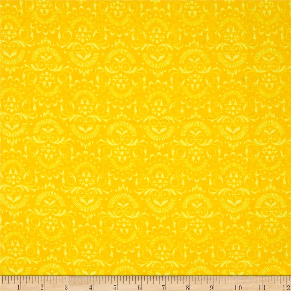 Floral Fairground Damask Gold