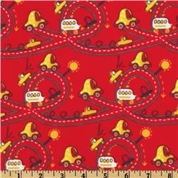 Camelot Flannel Cars Red Fabric
