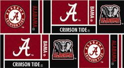 Collegiate Cotton Broadcloth University of Alabama Squares Red/Black