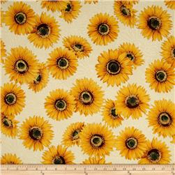 Robert Kaufman Shades of the Season Metallic Sunflowers Ivory