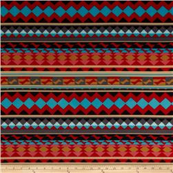 Techno Scuba Knit Aztec Red/Pink/Gold