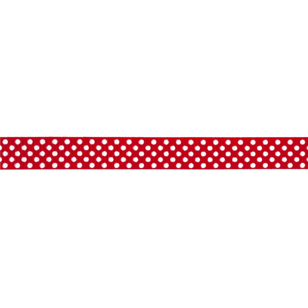 "Riley Blake 3/8"" Grosgrain Ribbon White Dots Red"
