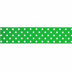 1.5'' Grosgrain Polka Dots Green/White