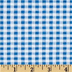 Jersey Knit Stretch Print Gingham Checks Blue