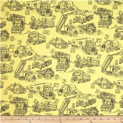 110'' Wide Quilt Back Mighty Movers Yellow Fabric
