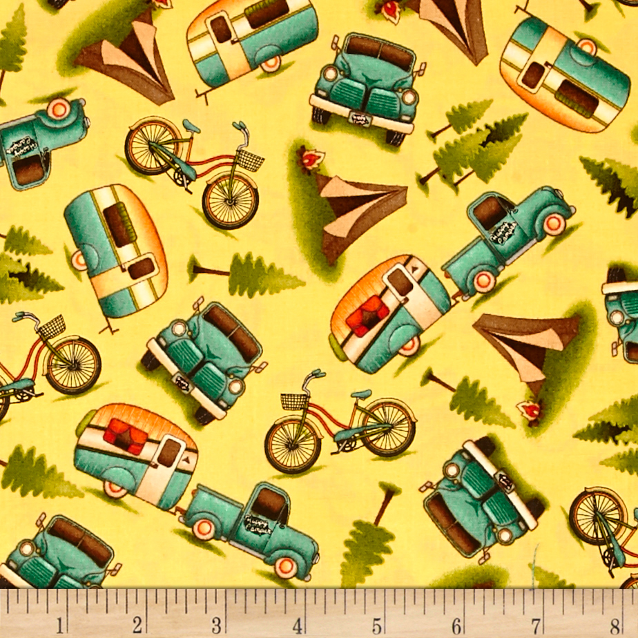 Image of Outdoor Adventure Camping Motifs Toss Yellow Fabric