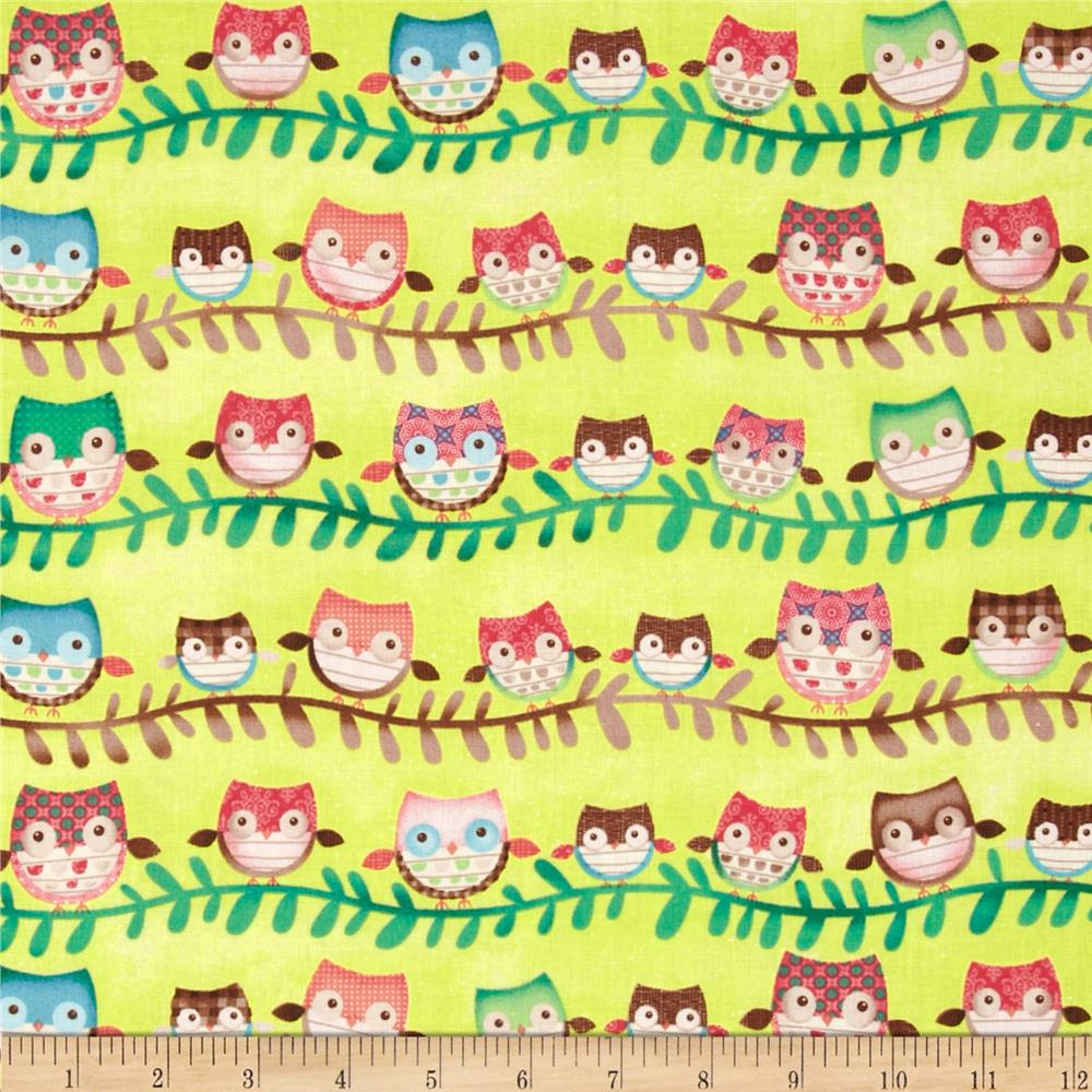 Friendly Forest Owl Stripe Lime