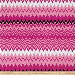 Stretch ITY Knit Zig Zag Pink Black