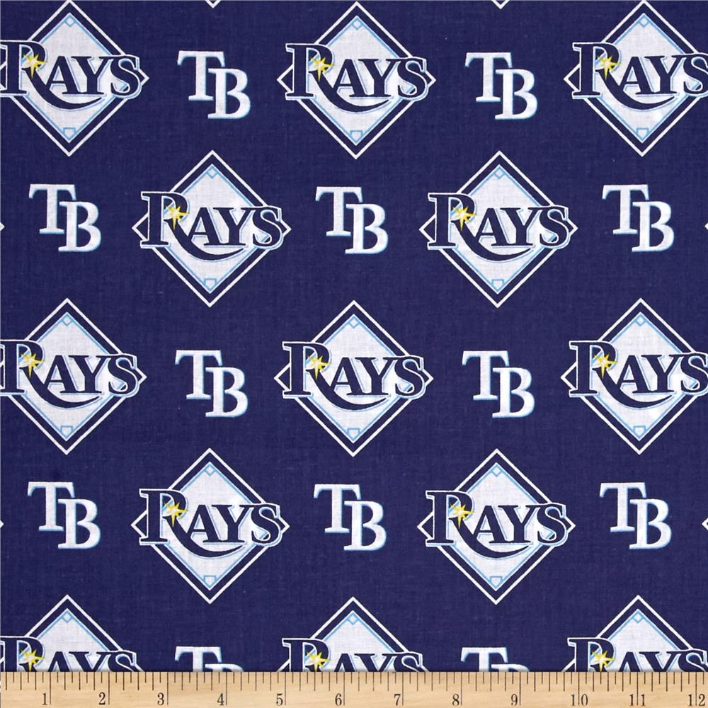 MLB Cotton Broadcloth Tampa Bay Rays Blue/White Fabric By The Yard