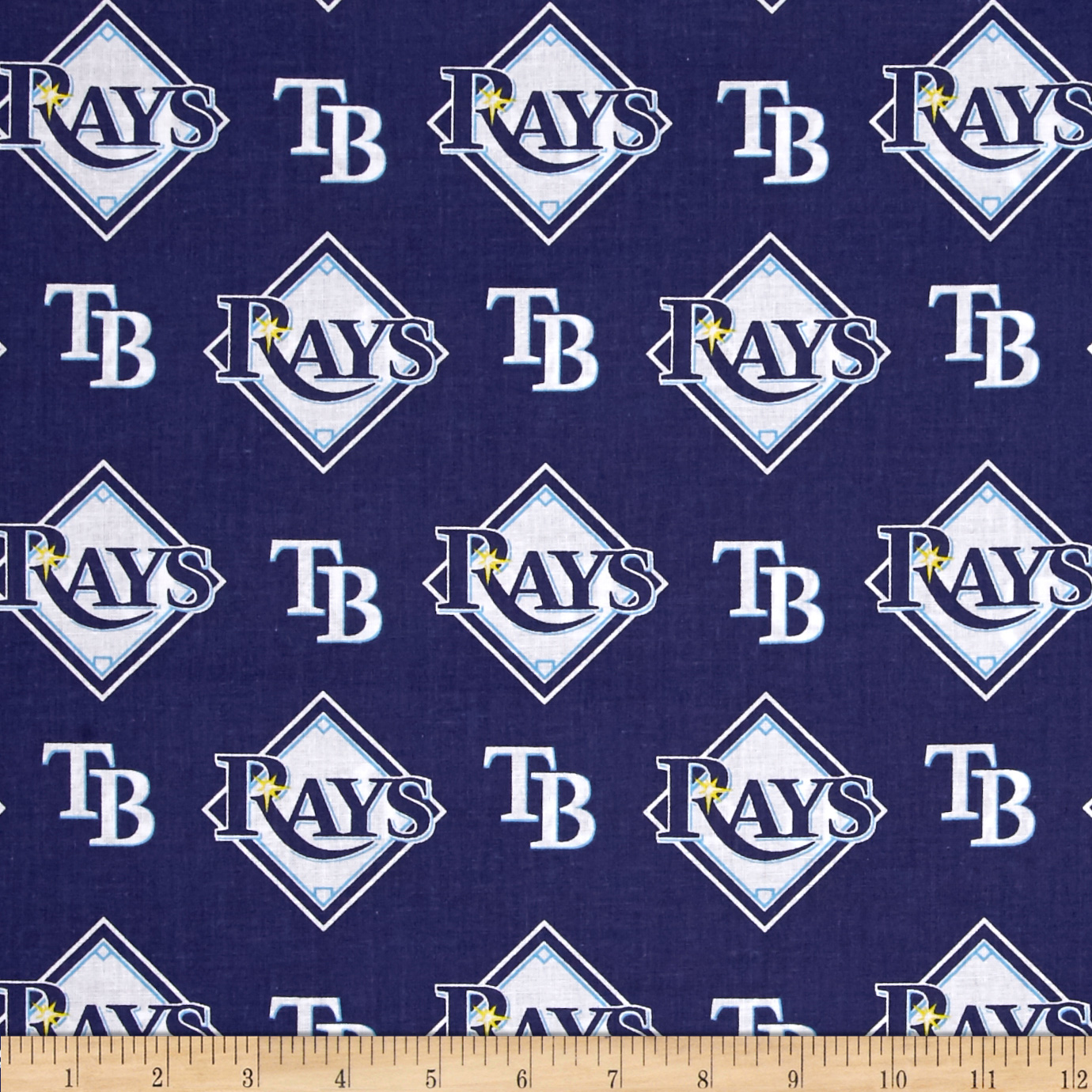 MLB Cotton Broadcloth Tampa Bay Rays Blue/White Fabric 0402937