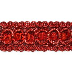 "7/8"" Trish Sequin Metallic Braid Trim Roll Red"