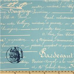 Premier Prints Penmanship Arctic Blue/Natural Fabric