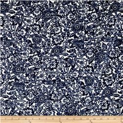 Kaufman Cotton Boucle Prints Paisley Indigo