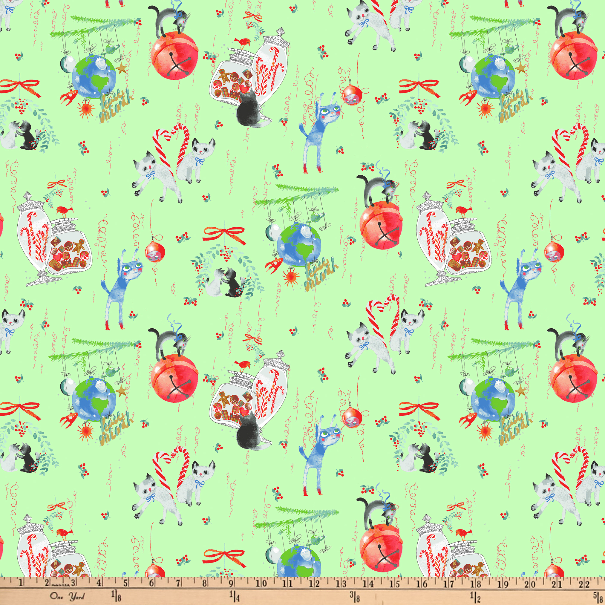 Clothworks Purrfect Christmas Toile Light Green