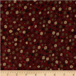 Talia Metallic Graphic Dots Cinnabar/Gold Fabric