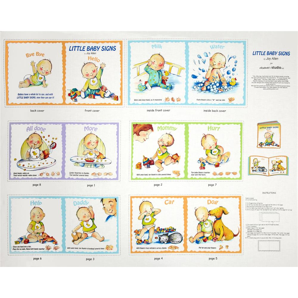 "Little Baby Signs 36"" Book Panel White"